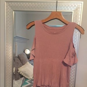 AE Soft & Sexy Ribbed Cold Shoulder Top